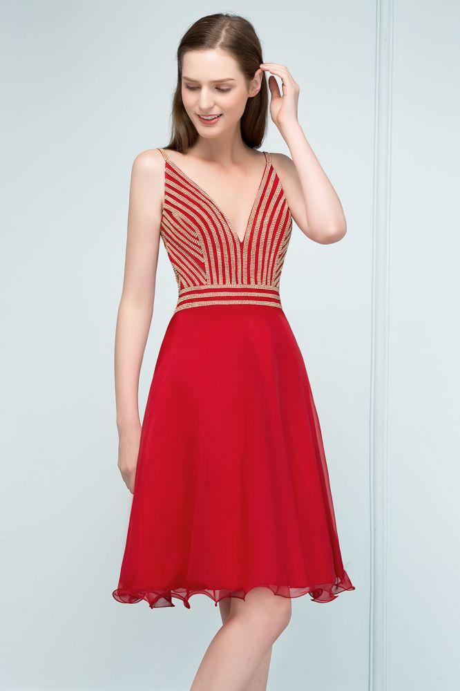 SUZAN   A-ligne V-cou Spaghetti court perlant Tulle Robes de bal