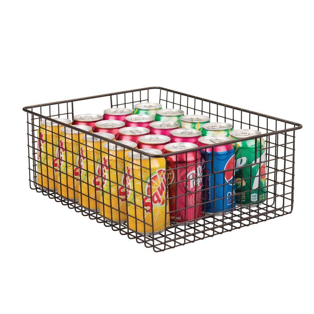 Wide Metal Wire Kitchen Pantry Food Storage Basket in Bronze, 16