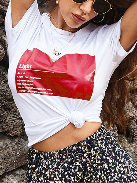 Yoins Letter Graphic Crew Neck Short Sleeves Tee