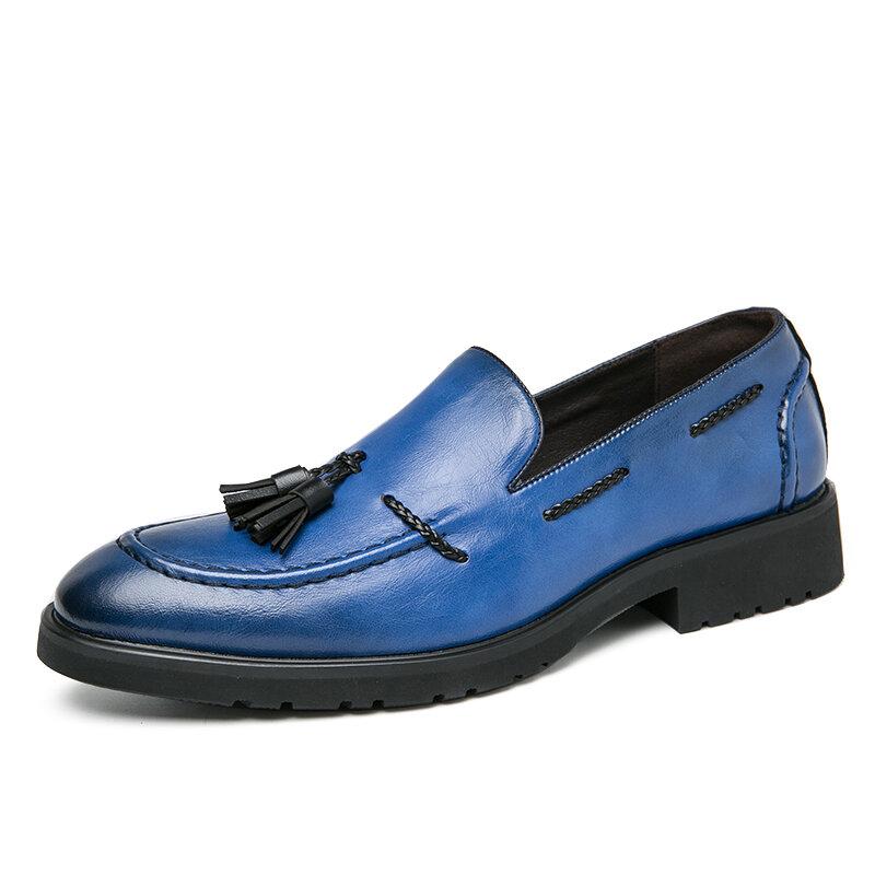 Men Cow Leather Non Slip Tassel Slip On Business Formal Dress Shoes