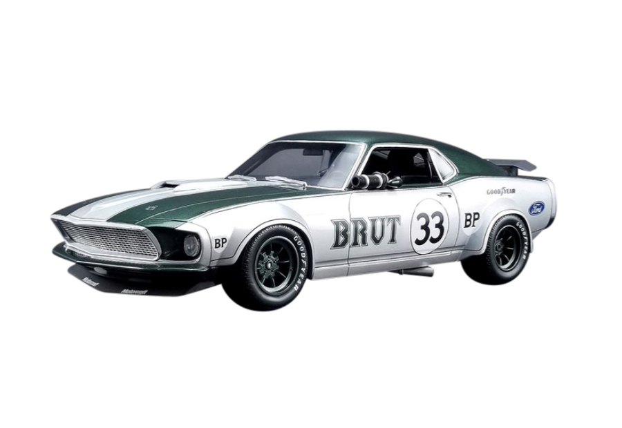 1969 Ford Mustang Boss 302 Trans Am 33 Brut Allan Moffat Silver with Green Stripes 1/18 Model Car by Real Art Replicas