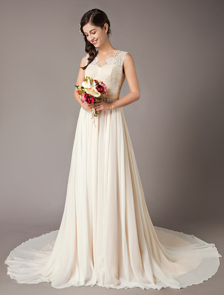 Milanoo Champagne Wedding Dresses Beach Lace Chiffon V Neck Bridal Dress