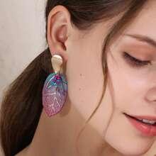 Ohrringe mit Blatt Anhaenger