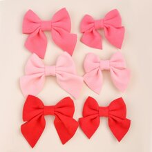 6pcs Parent-toddler Girls Bow Decor Hair Clip