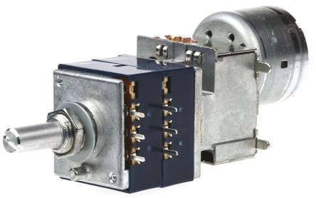 Alps Alpine Rotary Carbon Potentiometer with an 6 mm Dia. Shaft - 50kΩ, ±20%, 0.05W Power Rating, Logarithmic, Panel