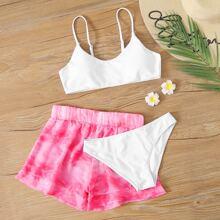 3 Stuecke Co-ord Bikini Badekleidung mit Batik
