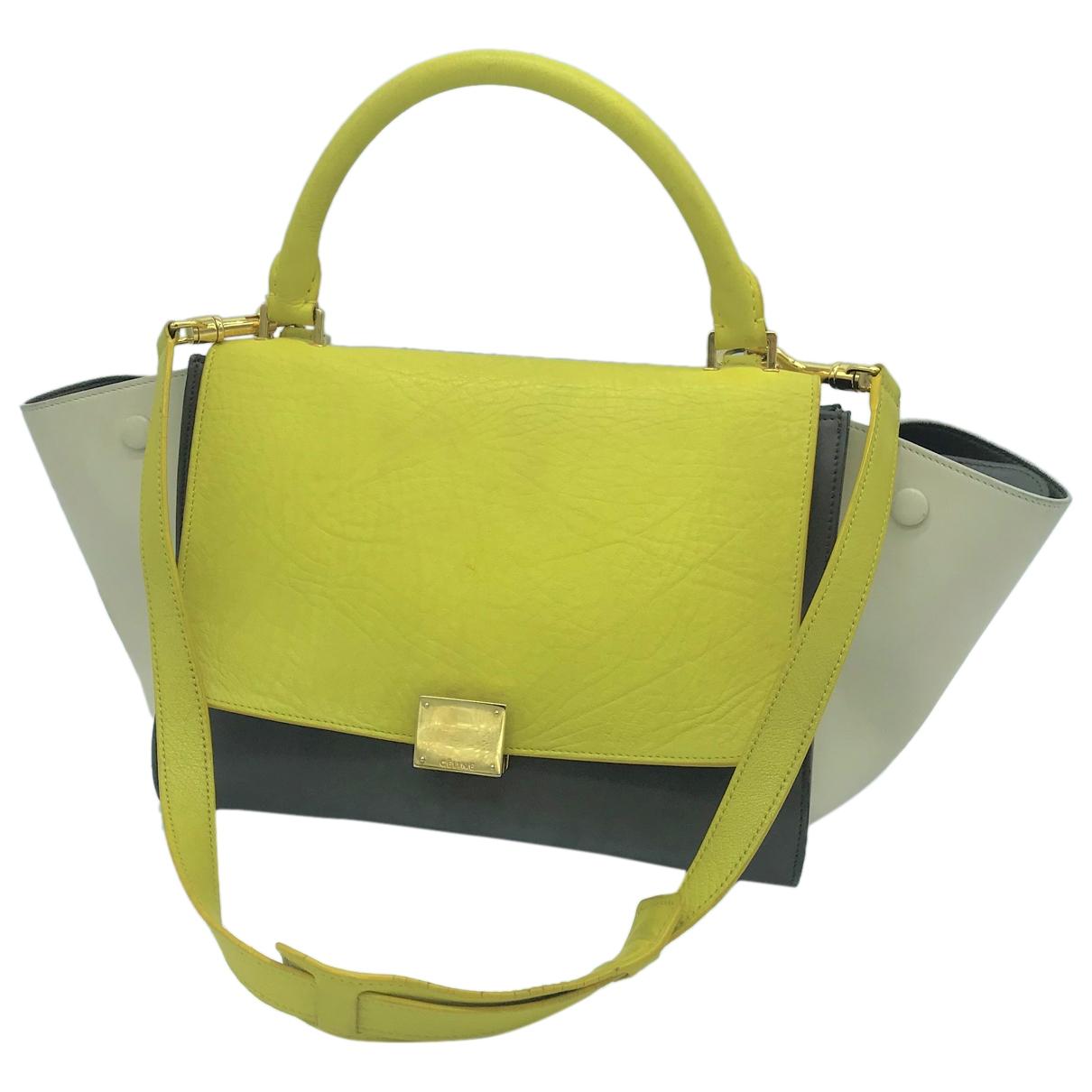 Celine Trapèze Khaki Leather handbag for Women \N