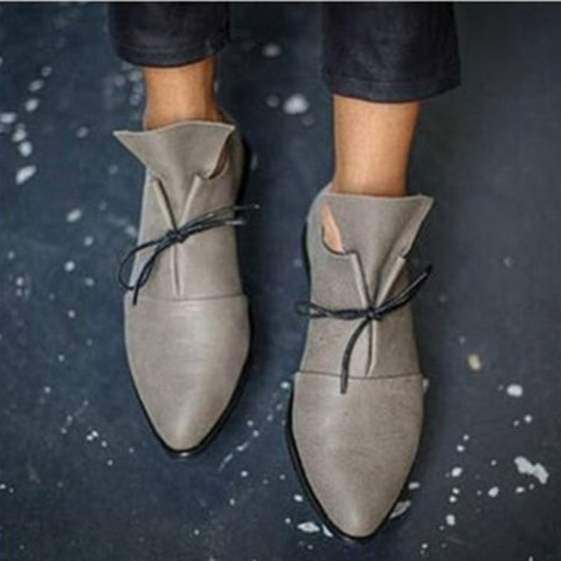 Ericdress Lace-Up Pointed Toe Flat With Plain Thin Shoes