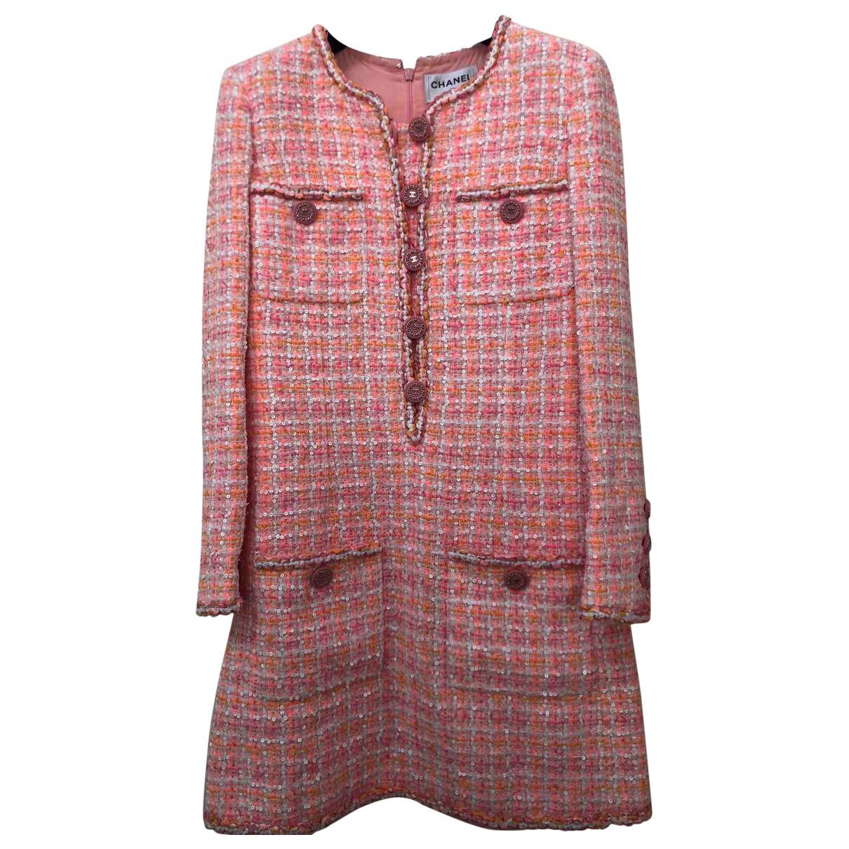 Chanel - Robe   pour femme en tweed - rose