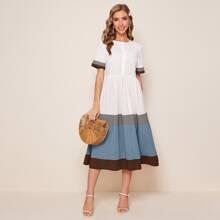 Vestido ribete de color combinado en contraste con boton delantero