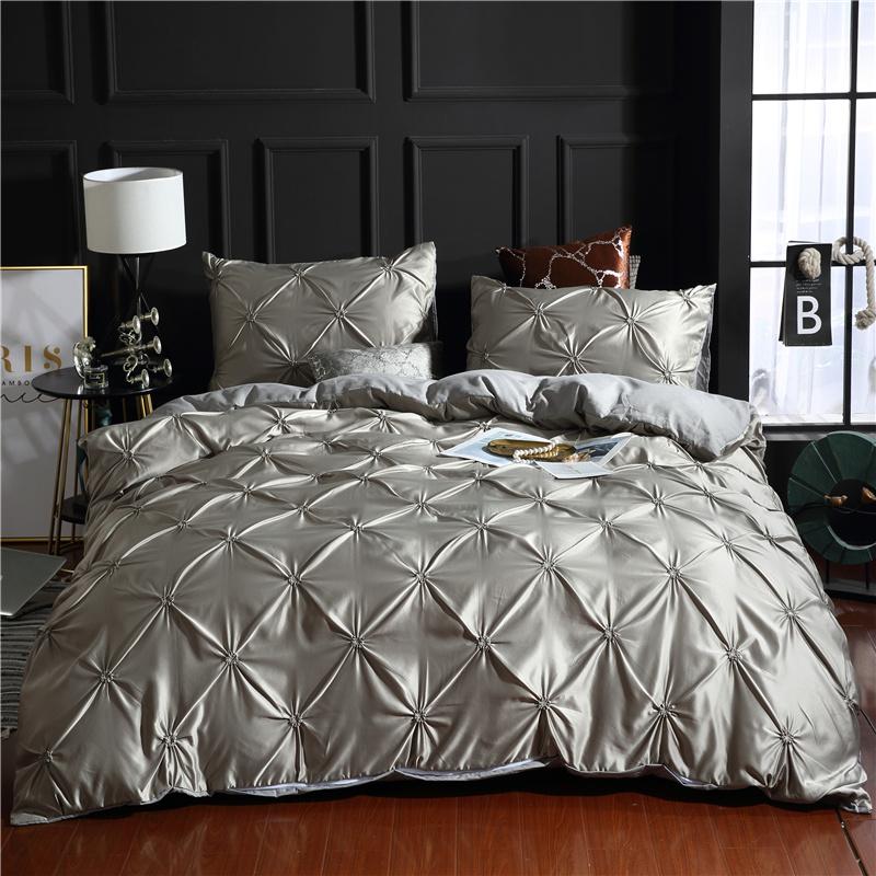 Lake Blue/Gray Unique Pintuck Pleat Style Skin-friendly 3-Piece Bedding Sets Pure Color Zipper Duvet Covers