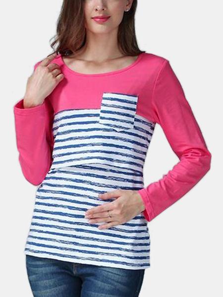 Yoins Stripe Pattern Side Stitching Nursing T-shirts in Pink
