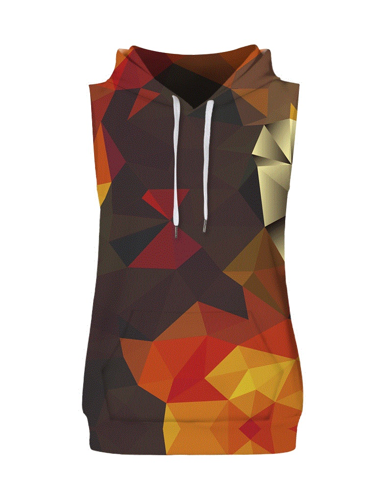 Colorful Geometric Block Sleeveless Pullover Hooded Men Fashion T-shirt