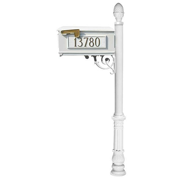 Lewiston Mailbox with Post, Pineapple Finial, Ornate Base and Fleur-de-Lis Front Plate, White with Gold Lettering