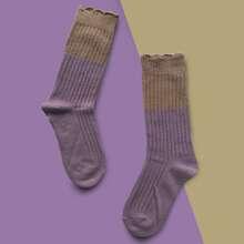Color Block Ribbed Socks