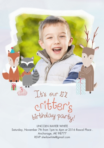 Kids Birthday Party 5x7 Cards, Premium Cardstock 120lb with Scalloped Corners, Card & Stationery -Snow Frosted Critter