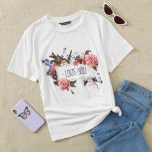 Top aplique floral con estampado de slogan y pajaro