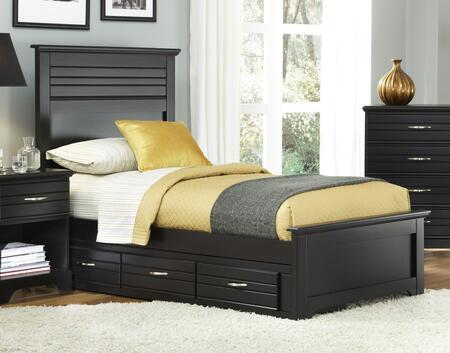 Platinum Collection 507830-3-509300-508330 Twin Panel Bed with Panel Headboard & Footboard  Wood Rails with Slats and 3 Drawer Under Bed Storage in