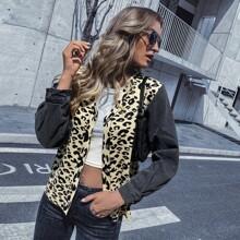 Strickjacke mit Kontrast Ärmeln, Leopard Muster und Knopfen vorn