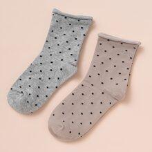 2 Paare Socken mit Punkten Muster