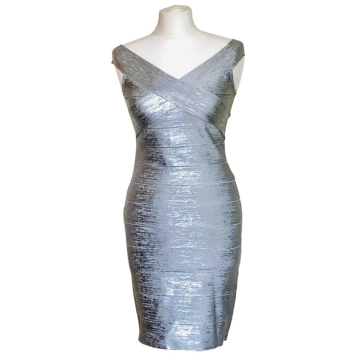 Herve Leger \N Kleid in  Silber Synthetik