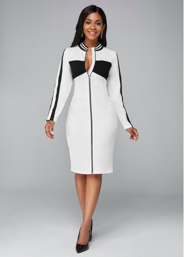 White Dresses Contrast Zipper Closure Long Sleeve Dress - L
