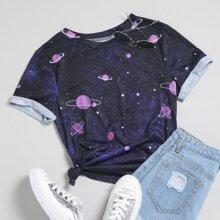 T-Shirt mit Galaxie Muster und kurzen Ärmeln