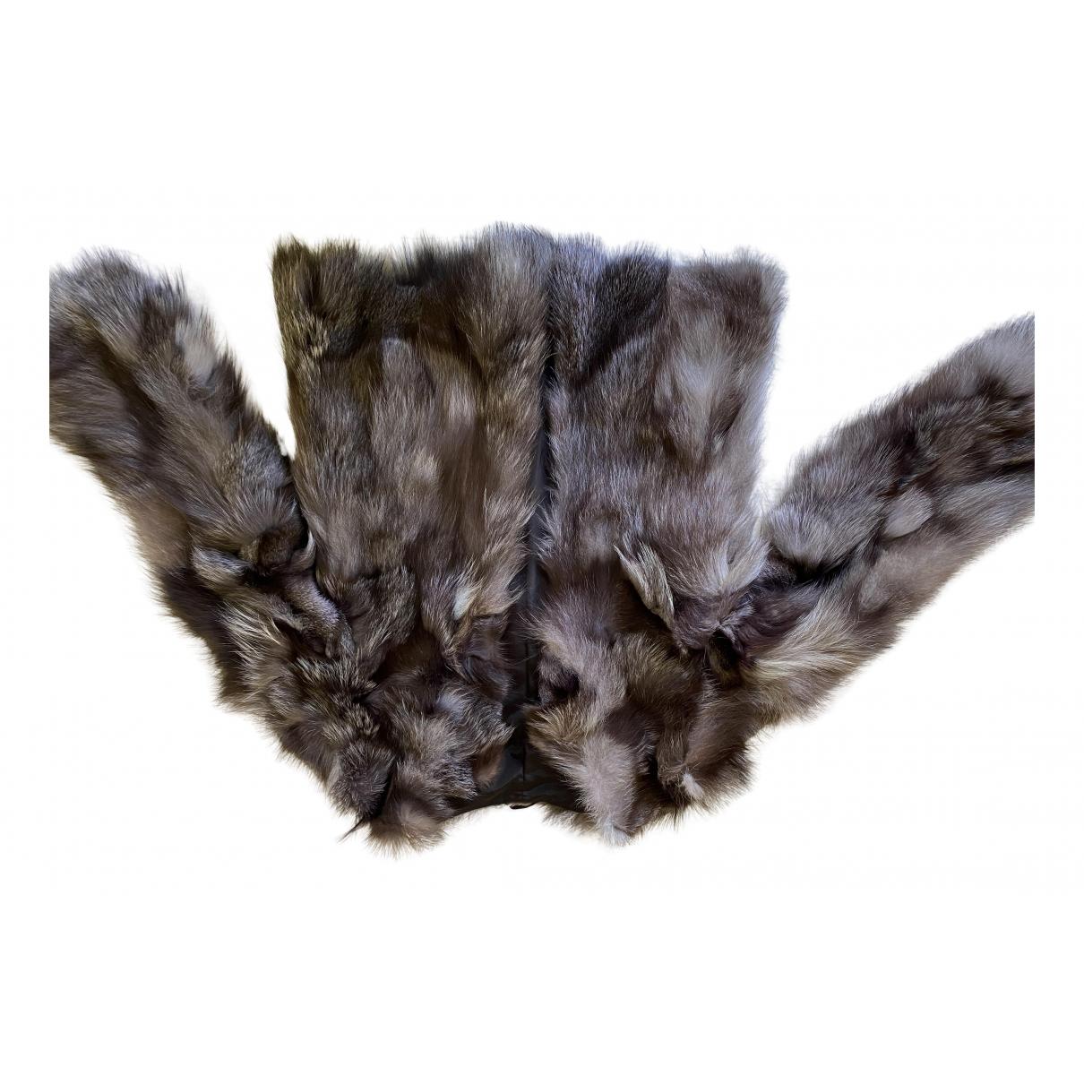 - Veste   pour femme en renard - anthracite