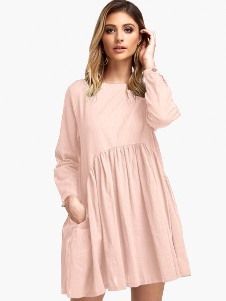 Yoins Pink Pleated Long sleeves Loose Dress