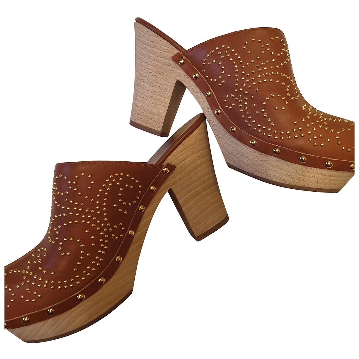Sergio Rossi \N Brown Leather Mules & Clogs for Women 39 EU