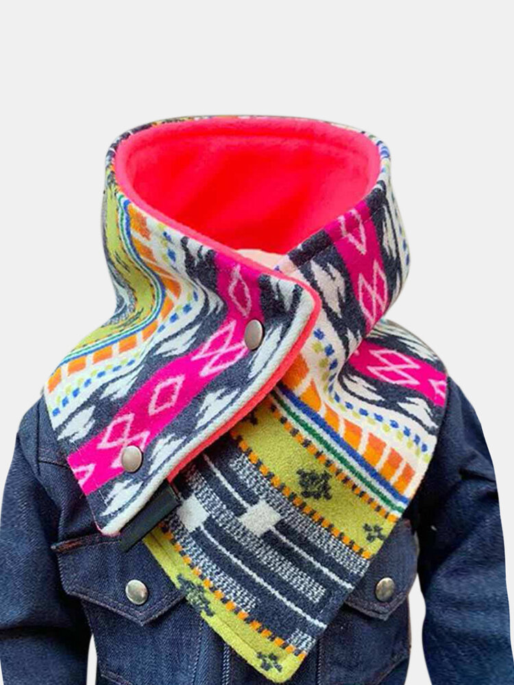 Women All-match Stripe Thick Printed Scarf Elegant Adjustable Neck Wrap Warm Scarf