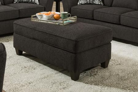 Guillermo Collection 184555-2126-O-DD Ottoman with Rectangular Shape  Piped Stitching  Block Feet  Dante Dusk Fabric Upholstery in Grey