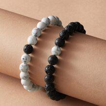 2pcs Marble Pattern Beaded Bracelet