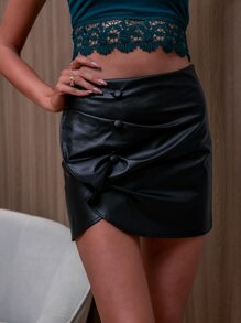 D&M Button Front PU Leather Skirt