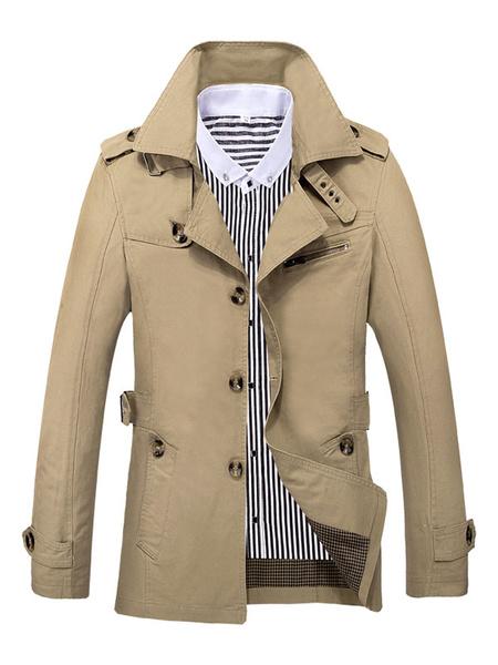 Milanoo Men Khaki Overoat Turndown Colloar Long Sleeve Plus Size Trench Coat 3 Buttoned Overcoat Cotton