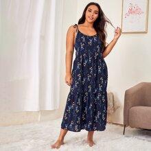 Cami Nachtkleid mit Blumen Muster und Knoten auf Schulter