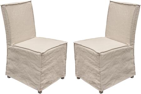 Sonoma Collection SONOMADCLN2PK 2-Pack Dining Chairs with Sand Linen Removable Slipcover and Beechwood Legs in Grey Oak