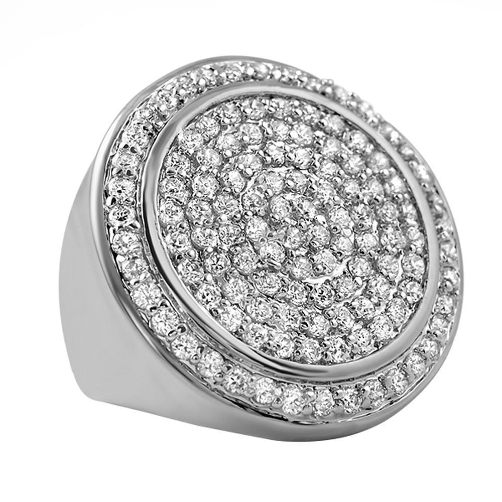 .925 Sterling Silver CZ Bling Ring Mega Ice Circles
