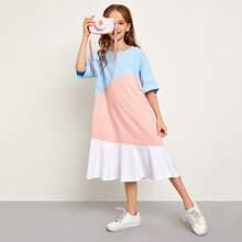 Vestido de color combinado de hombros caidos