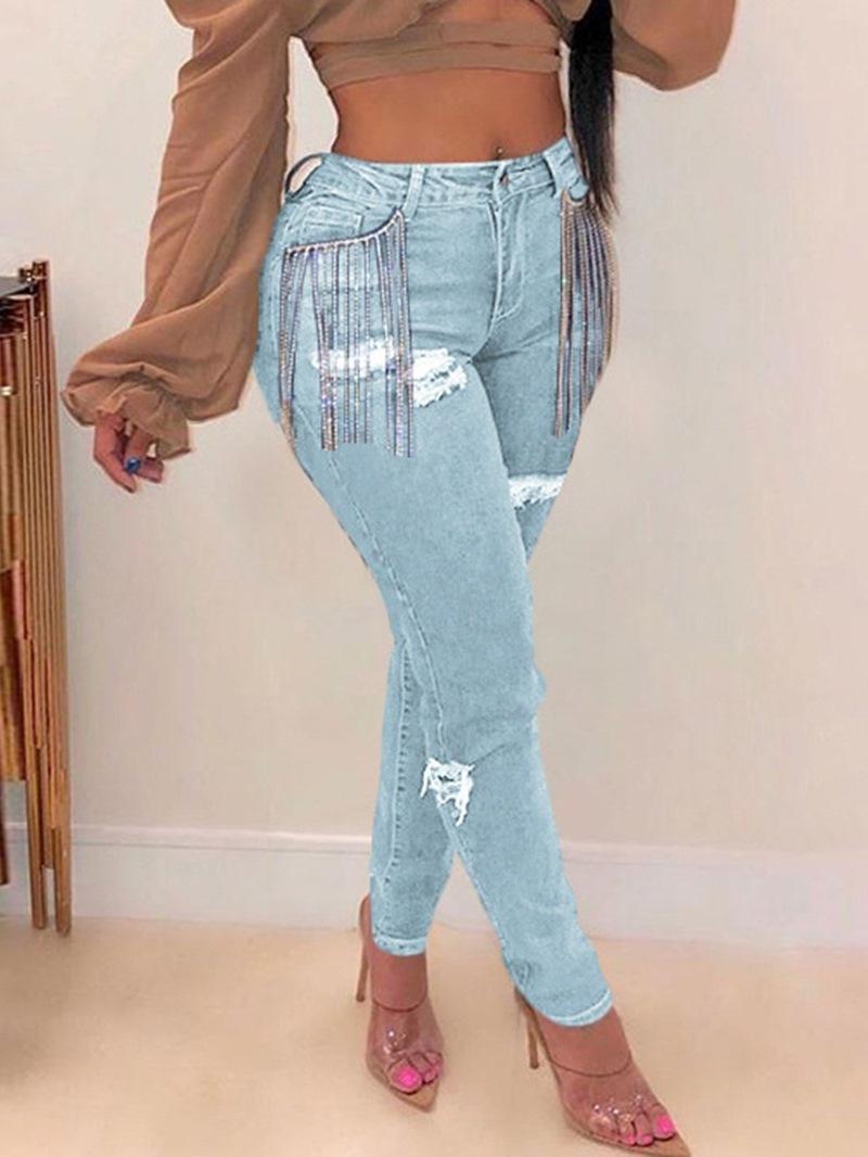 Ericdress Plain Pencil Pants Hole Skinny Mid Waist Jeans