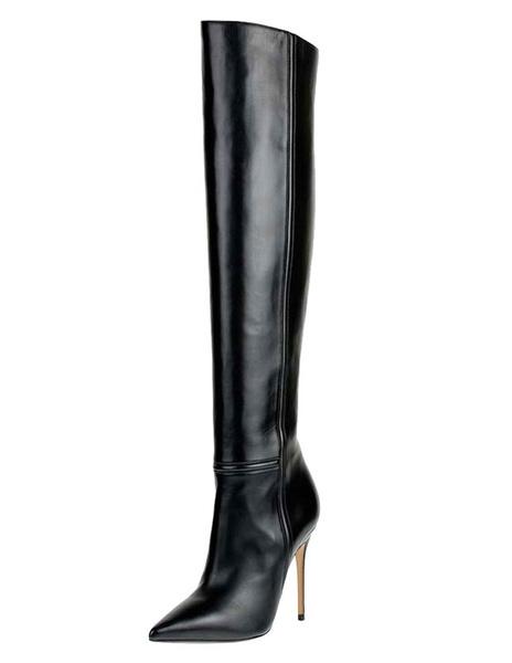 Milanoo Botas altas mujer negro  botas altas negras de PU de tacon de stiletto de puntera puntiaguada 12cm Invierno Otoño Cremallera para graduacion