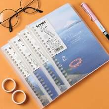 1 Pack zufaelliges Notizbuch mit See Muster auf Abdeckung