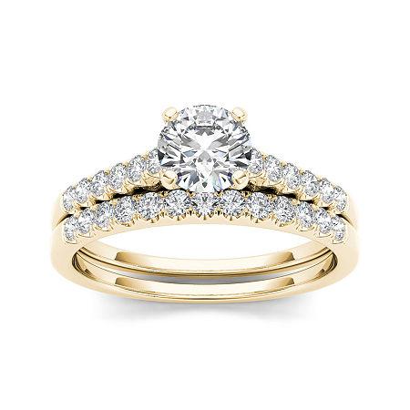 1 CT. T.W. Diamond 10K Yellow Gold Bridal Ring Set, 7 , No Color Family