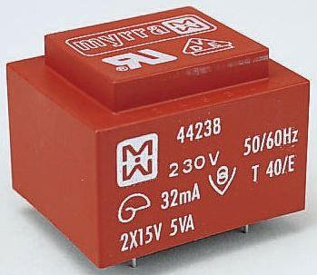 Myrra 24V ac 2 Output Through Hole PCB Transformer, 5VA