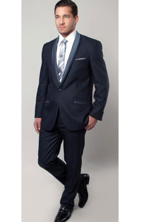 Brand Mens 1 Button Blue Two Toned Trimmed Tuxedo Slim Fitted Suit