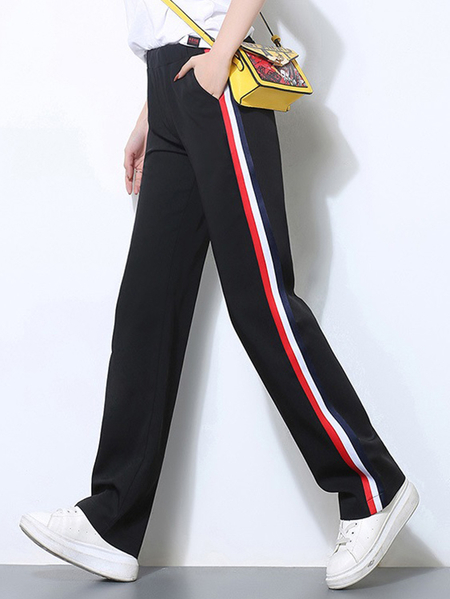 Yoins Active Contrast Color Stitching High Waisted Pants in Pink