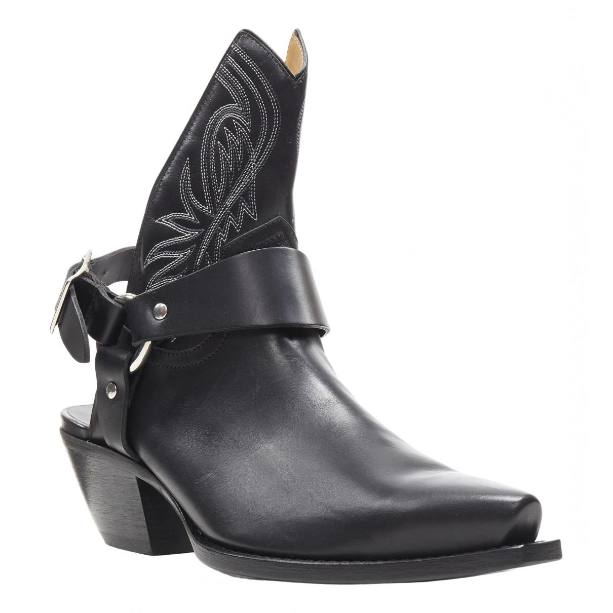 R13 \N Stiefel in  Schwarz Leder