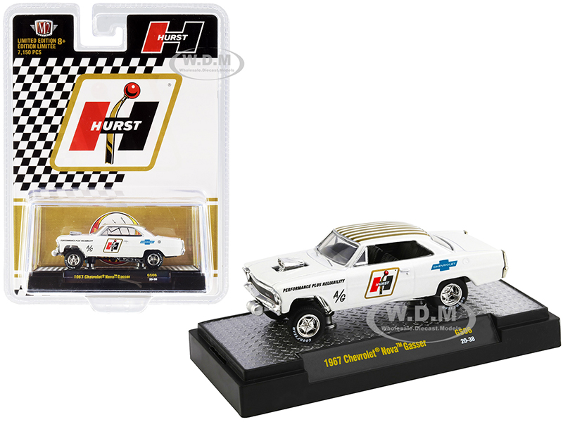 1967 Chevrolet Nova Gasser Hurst Pearl White with Gold Stripes Limited Edition to 7150 pieces Worldwide 1/64 Diecast Model Car by M2 Machines