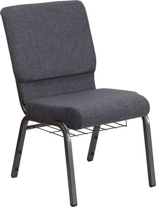 Hercules Collection FD-CH02185-SV-DKGY-BAS-GG Multipurpose Church Chair with Book Rack  Communion Cup Holder  Contemporary Style  Floor Protector