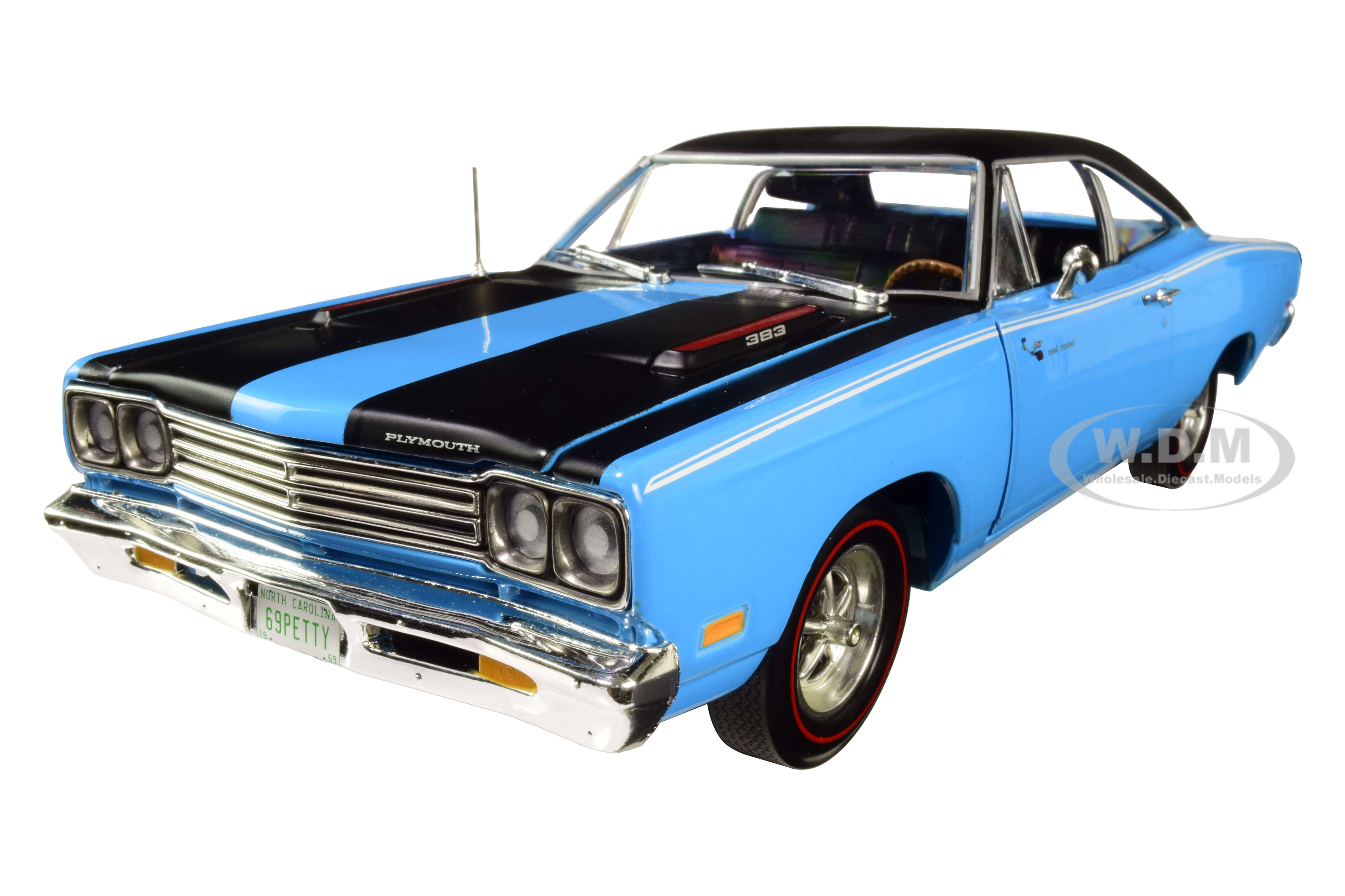 1969 Plymouth Road Runner Hardtop Petty Blue with Black Top and Black Stripes